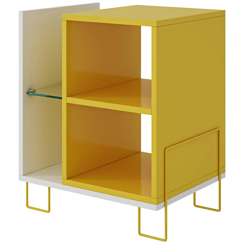 Boden White and Yellow 4-Shelf Bookcase