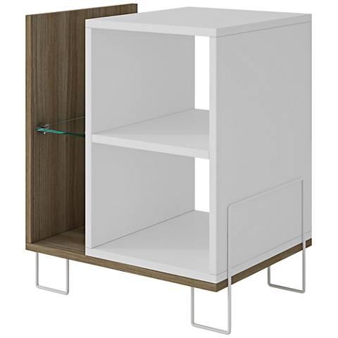 Boden Oak and White Matte 4-Shelf Bookcase