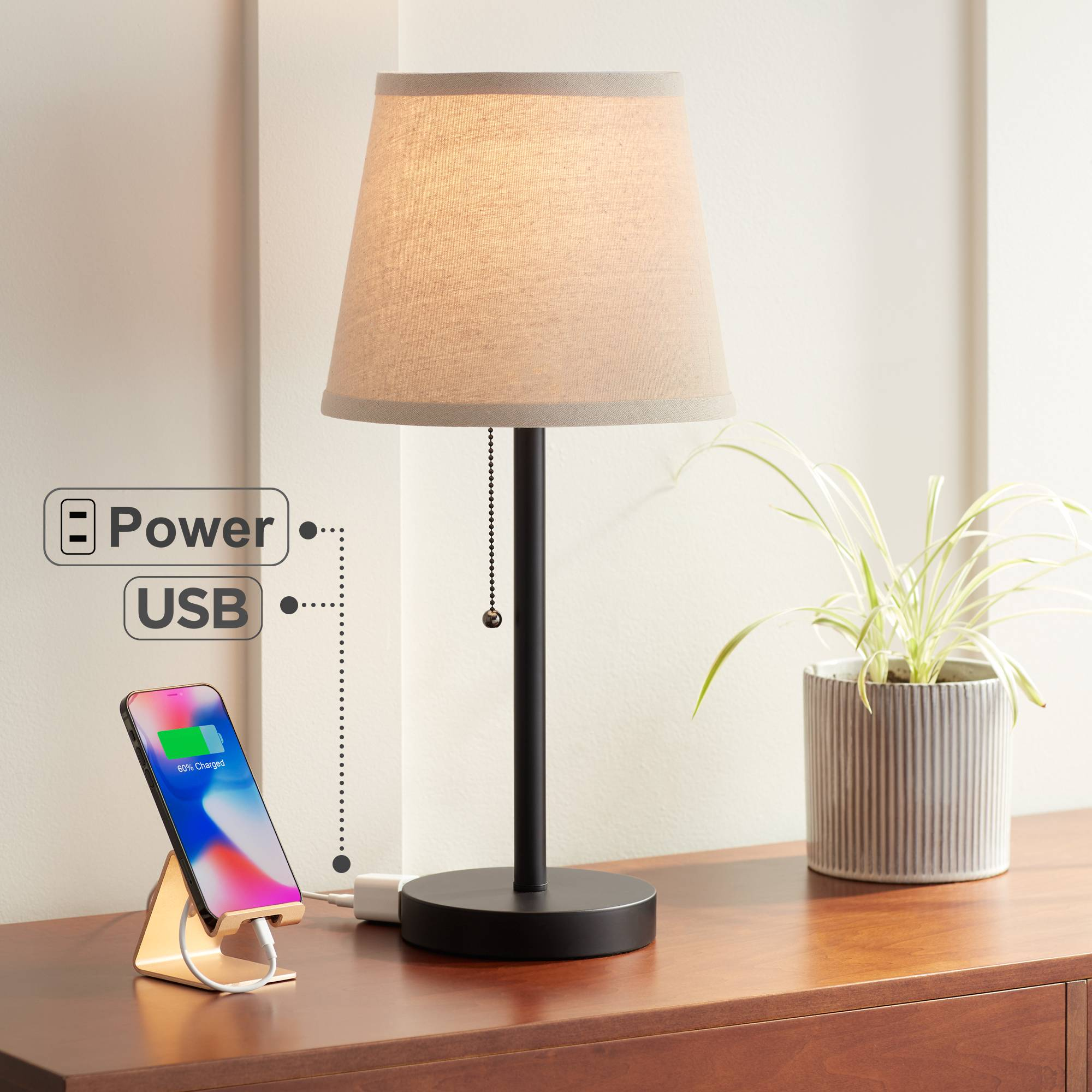 Modern Small Table Lamp With Usb Outlet Bronze White Shade For