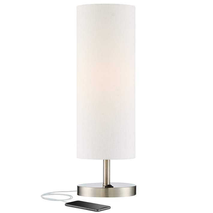 Heyburn Brushed Nickel Accent Table Lamp With Usb Port 38h95 Lamps Plus