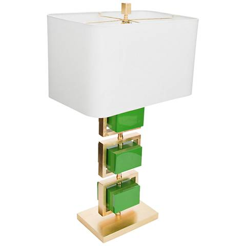 Couture Coventry Gold Leaf and Kelly Green Table Lamp