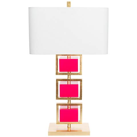 Couture Coventry Gold Leaf and Fucshia Table Lamp
