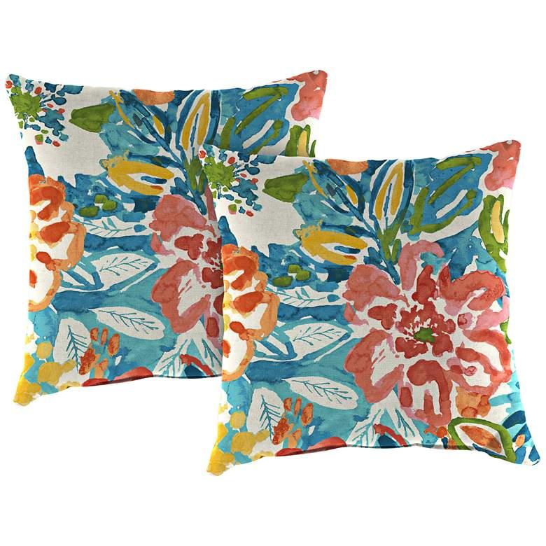 """Sunriver Sky 18"""" Square Outdoor Toss Pillow Set of 2"""