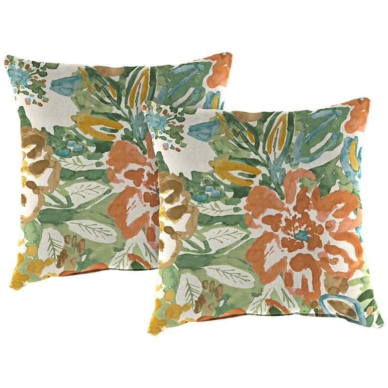 "Sunriver Mist 18"" Square Outdoor Toss Pillow Set of 2"