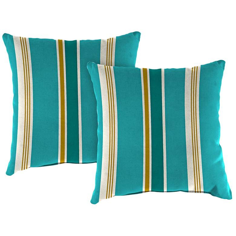 """Heatwave Stripe Turquoise 18"""" Square Outdoor Pillow Set of 2"""