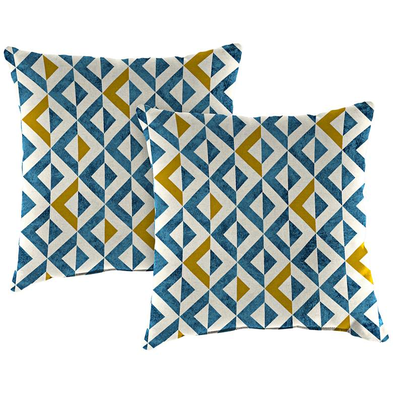 "Tropez Cobalt 18"" Square Outdoor Toss Pillow Set of 2"