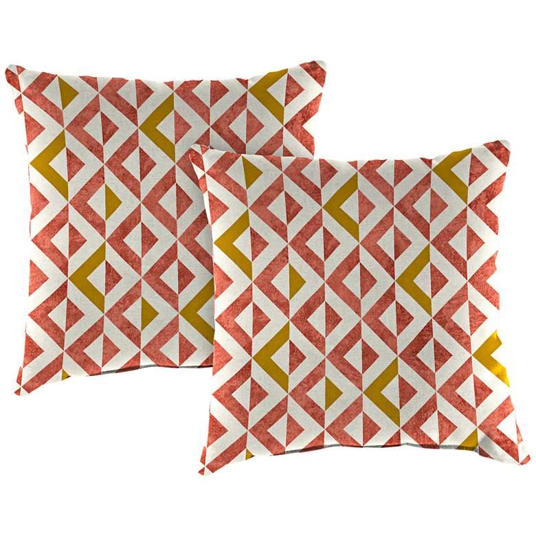 "Tropez Coral 18"" Square Outdoor Toss Pillow Set"