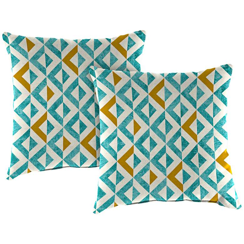 "Tropez Turquoise 18"" Square Outdoor Toss Pillow Set of 2"