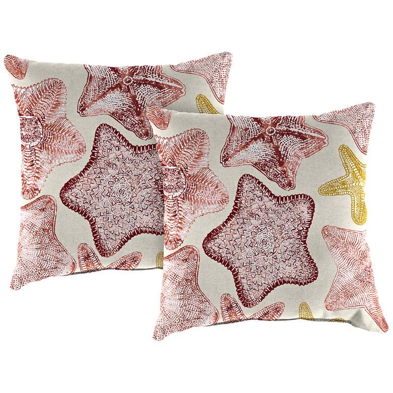 """Seabiscuit Coral 18"""" Square Outdoor Toss Pillow Set of 2"""