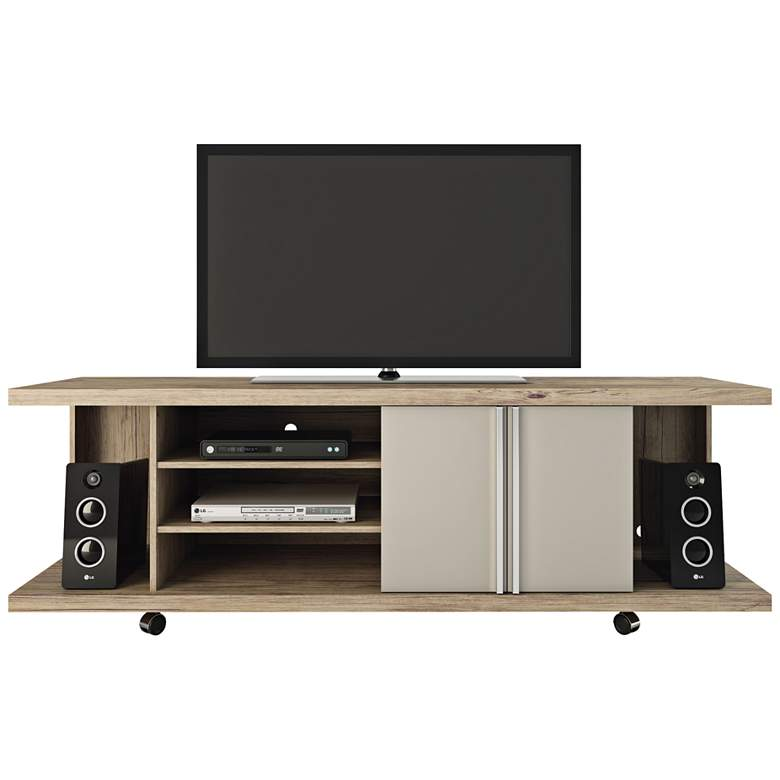 "Carnegie 71"" Wide Nature and Nude 2-Door TV Stand"