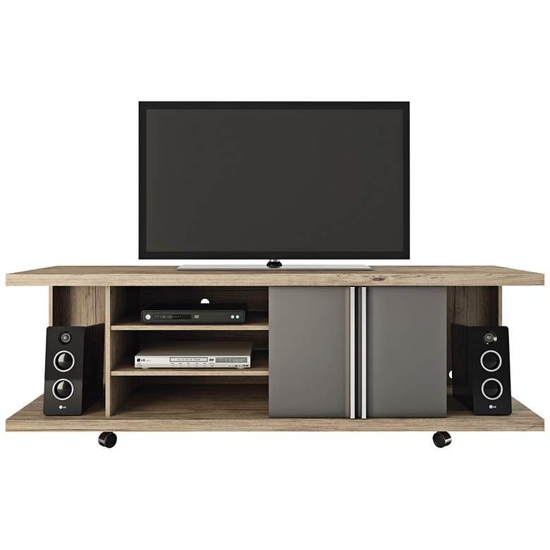"Carnegie 71"" Wide  Nature and Onyx 2-Door TV Stand"