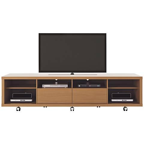 Cabrini Maple Cream Wood 6-Shelf TV Stand