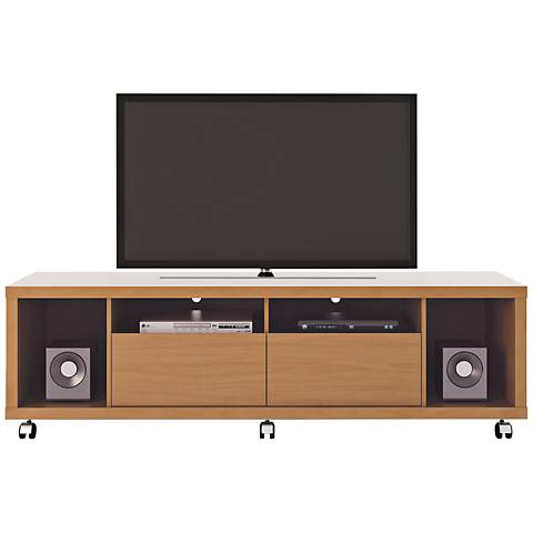 Cabrini Maple Cream Wood 4-Shelf TV Stand