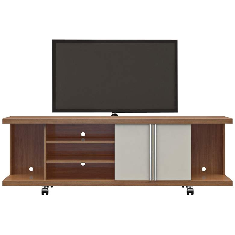 """Carnegie 71"""" Wide Maple Cream and Off-White 2-Door TV Stand"""