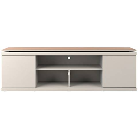 Vanlin Off-White and Maple Cream 2-Door TV Stand