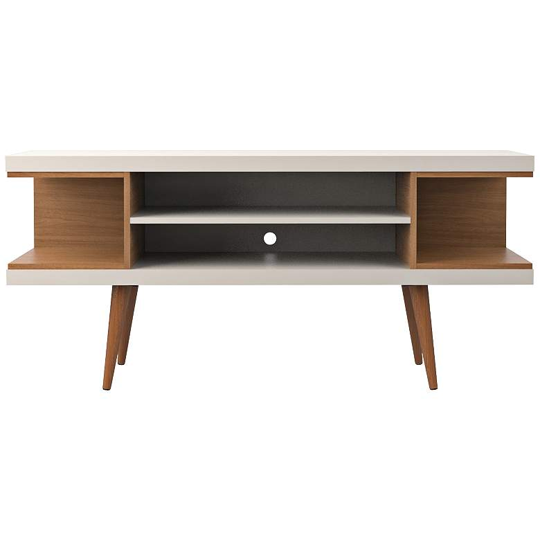 "Utopia 53 1/4"" Wide Off-White and Maple Modern TV Stand"