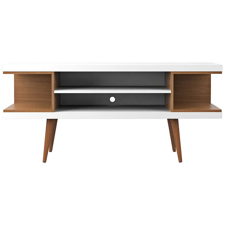 """Utopia 53 1/4"""" Wide White Gloss and Maple Modern TV Stand"""