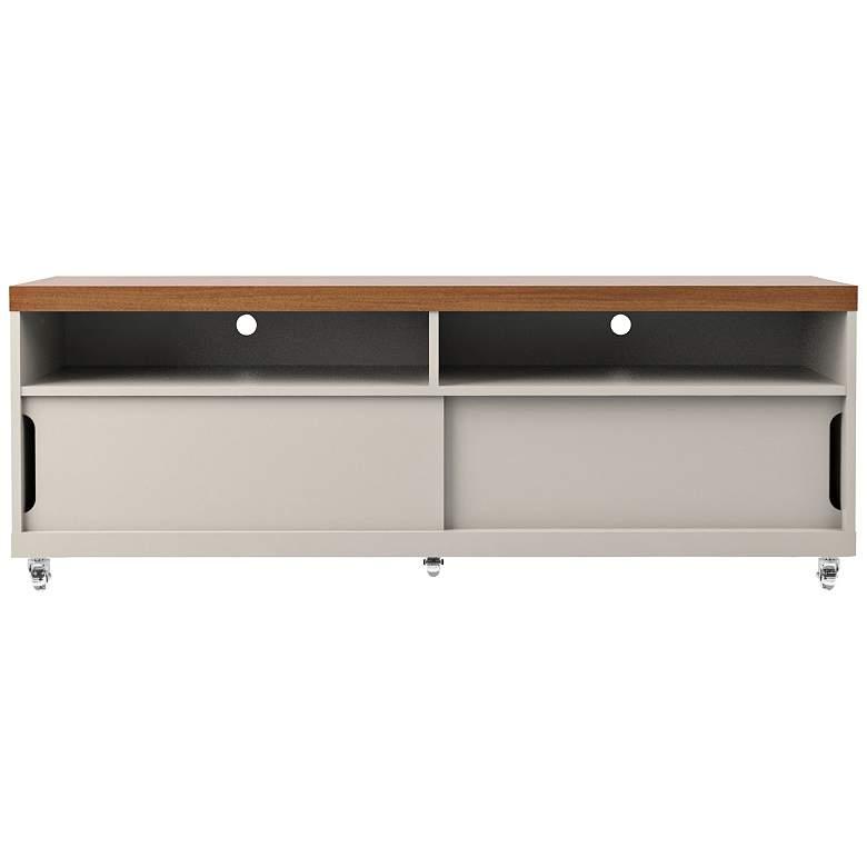 Batavia White Gloss and Maple Cream Small 2-Door TV Stand