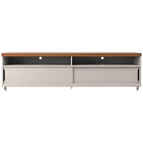 Batavia White Gloss and Maple Cream Large 2-Door TV Stand