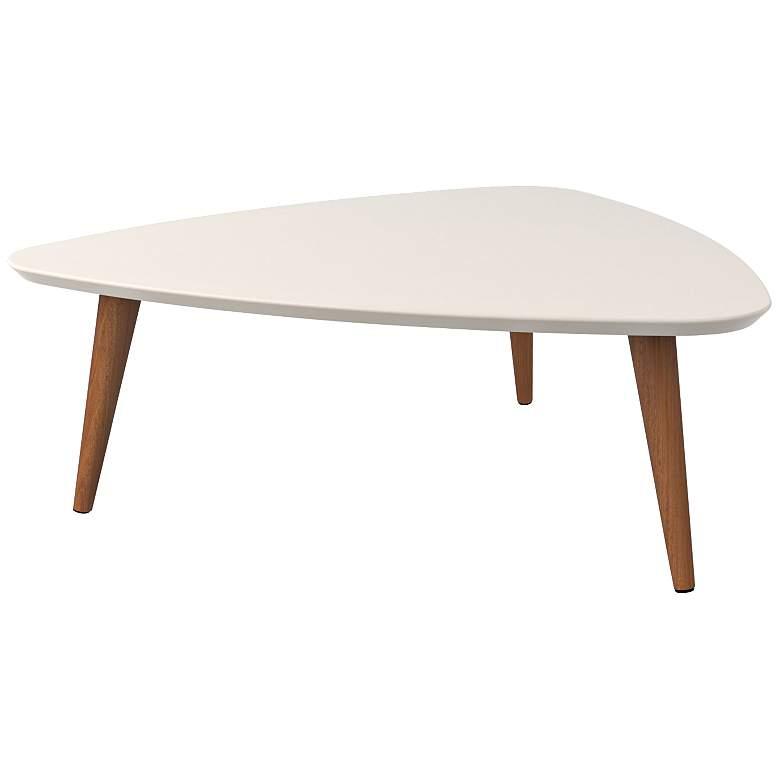 "Utopia 33 1/2"" Wide White Triangular Modern Coffee Table"