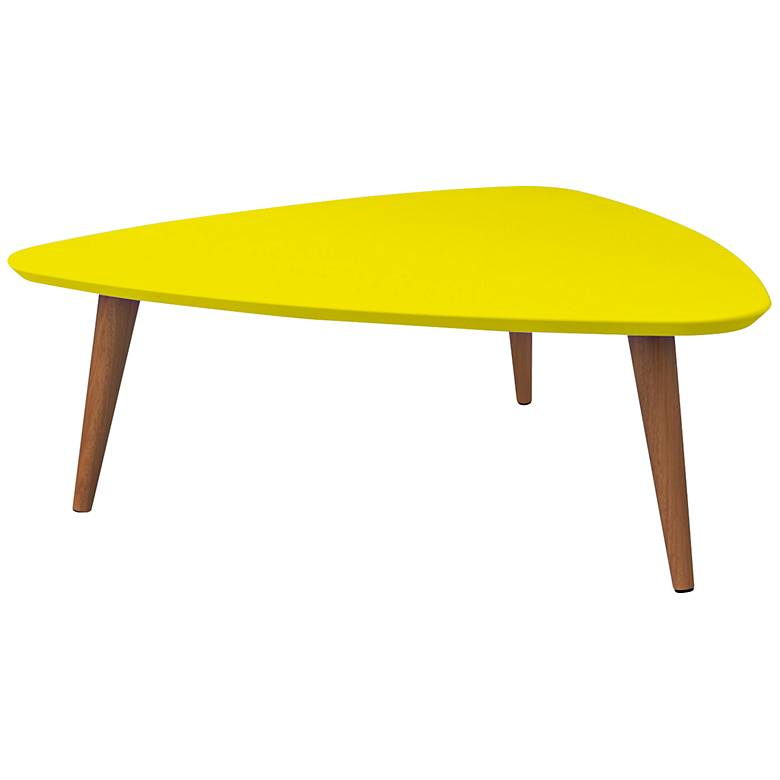 "Utopia 33 1/2"" Wide Yellow Triangular Modern Coffee Table"