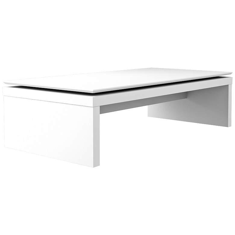 "Lincoln 47 1/4"" Wide White Gloss - Maple Cream Coffee Table"