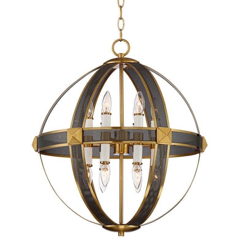 "Quasar 22""W Warm Antique Brass and Bronze 12-Light Pendant"