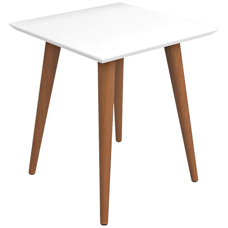 """Utopia 17 1/4"""" Wide White Gloss and Maple Modern End Table"""