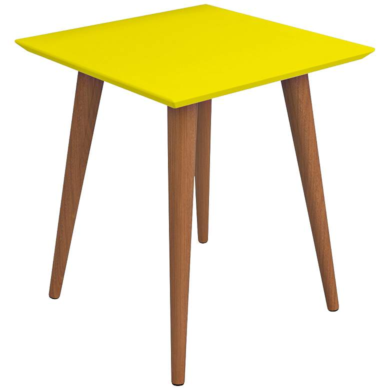 """Utopia 17 1/4"""" Wide Yellow and Maple Modern End Table"""
