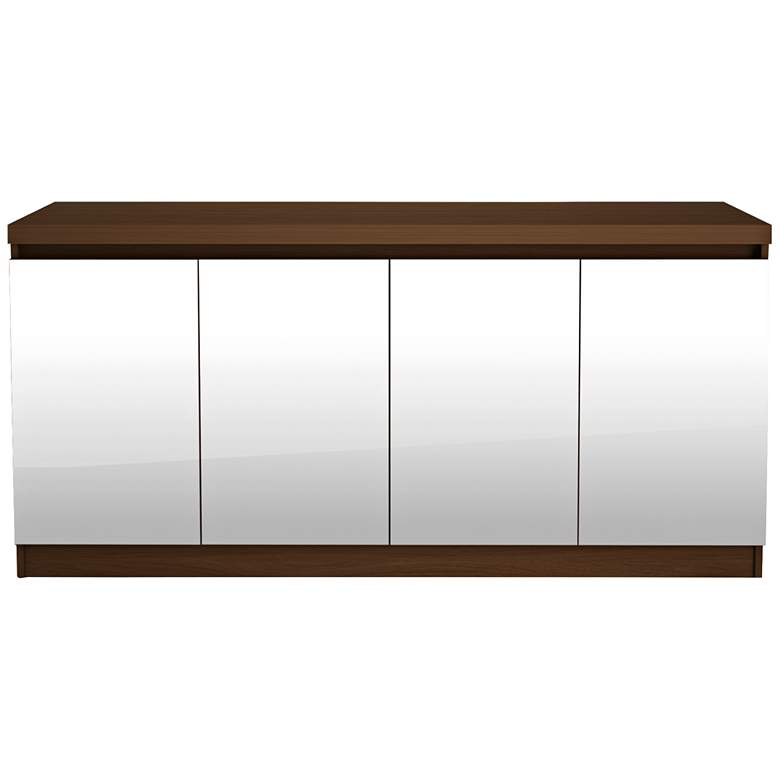 "Viennese 63"" Wide Nut Brown Wood and Mirror 4-Door Buffet"