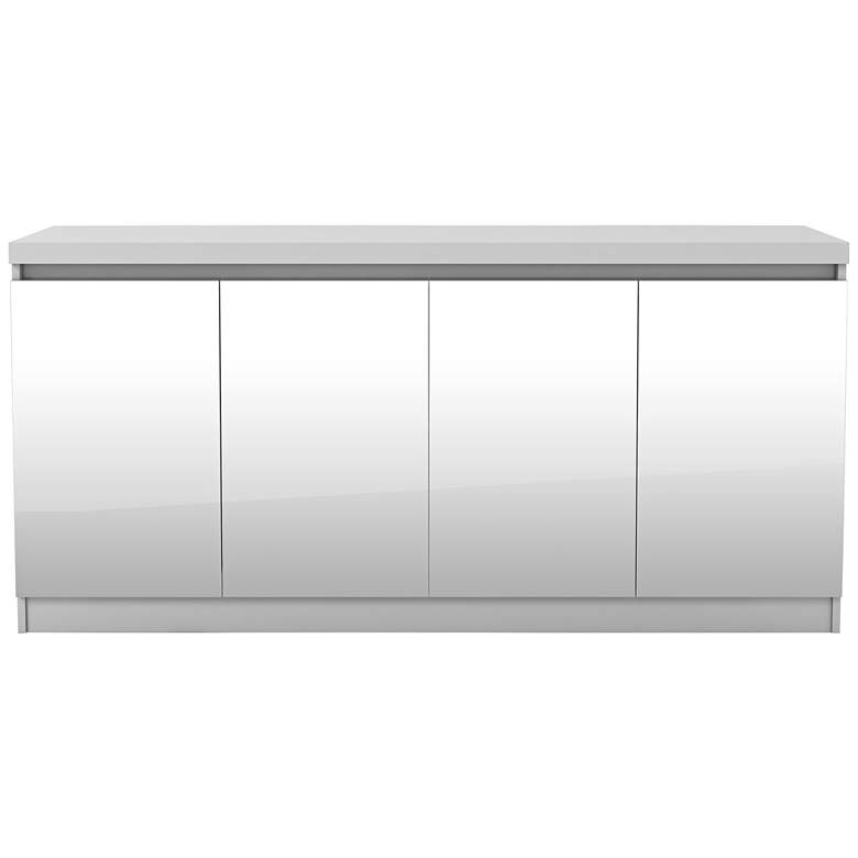 """Viennese 63"""" Wide White Gloss Wood and Mirror 4-Door Buffet"""