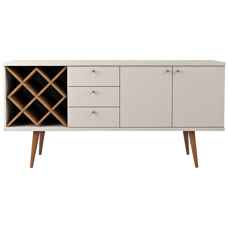 Utopia Off-White and Maple Cream 3-Drawer Sideboard