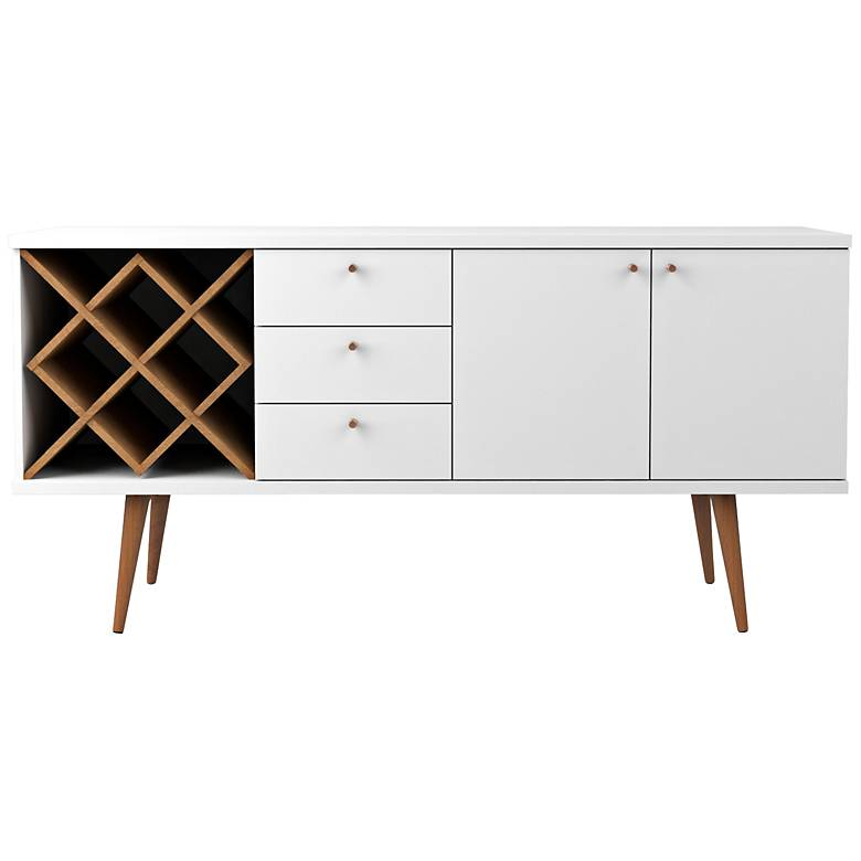 """Utopia 63 1/2"""" Wide White Gloss and Maple Modern Sideboard"""