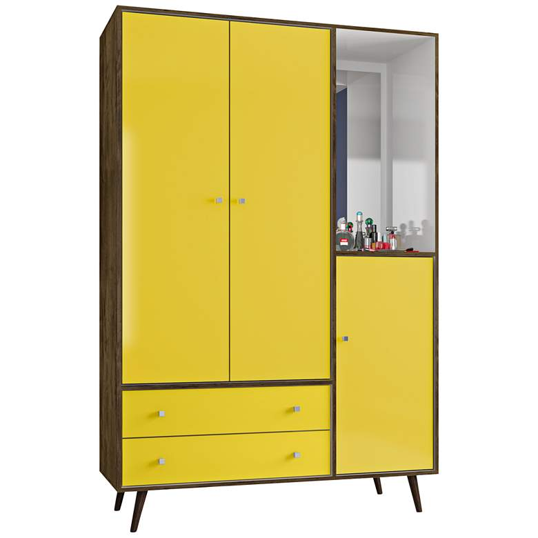 "Liberty 76 1/4"" Bright Yellow Modern Armoire with Mirror"