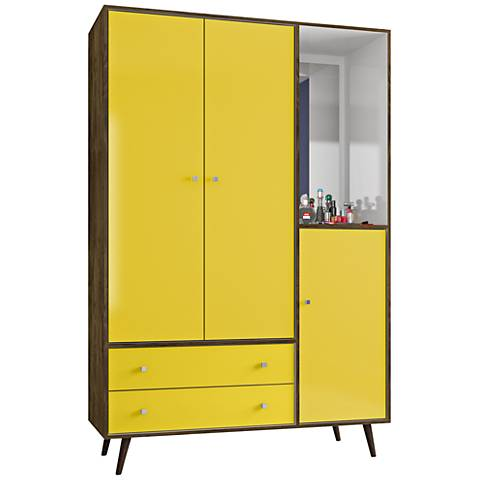 Liberty Rustic Brown and Yellow 2-Drawer Armoire