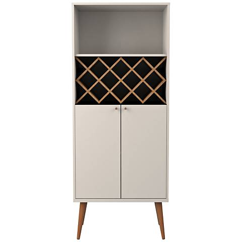 Utopia Off-White and Maple Cream 2-Door China Cabinet