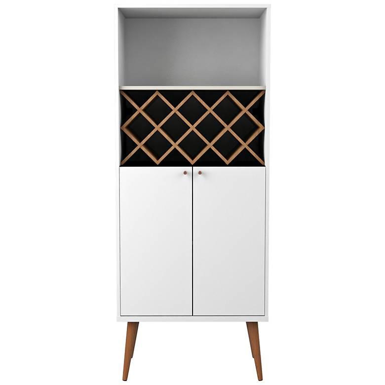 Utopia White Gloss and Maple Cream 2-Door China Cabinet