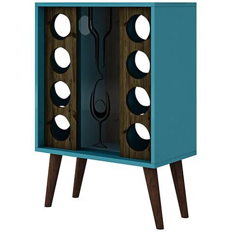 Lund Aqua and Rustic Brown Wine Cabinet with Cork Display