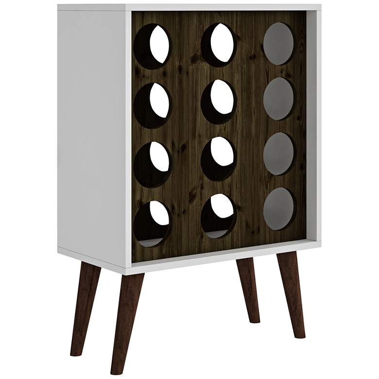 """Lund 21"""" Wide White and Rustic Brown Modern Wine Cabinet"""