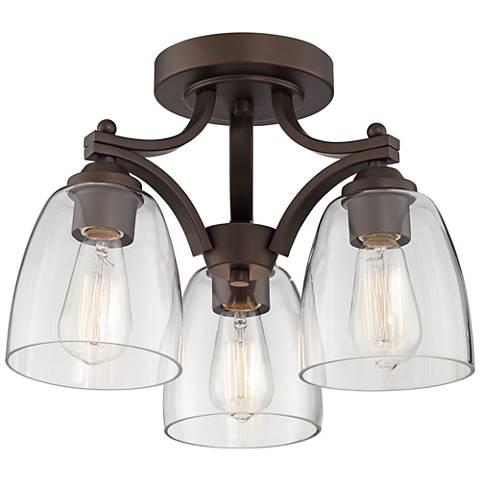 Franklin Iron Works Hadler Bronze 3-Light Ceiling Light