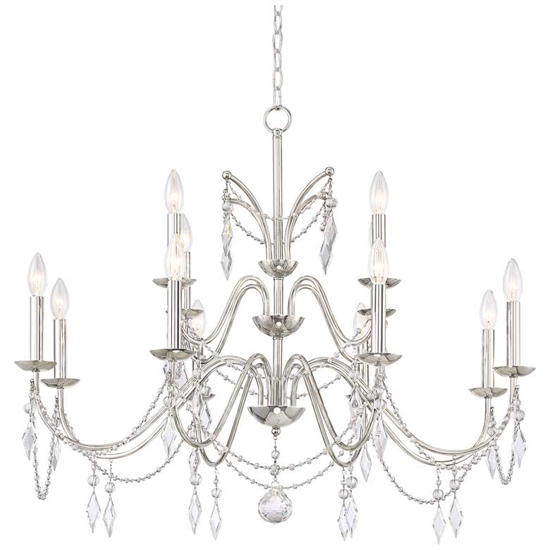 "Merlyn 34""W Polished Nickel and Crystal 12-Light Chandelier"