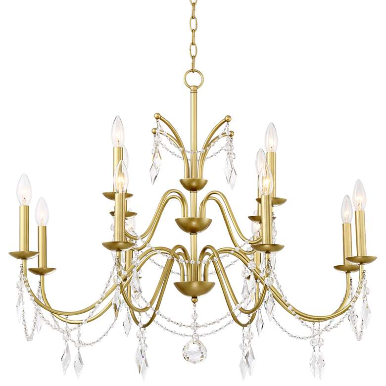 "Merlyn 34"" Wide Gold and Clear Crystal 12-Light Chandelier"