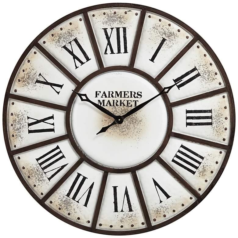 "Farmers Market 39 1/4"" Wide Rustic Metal Wall Clock"