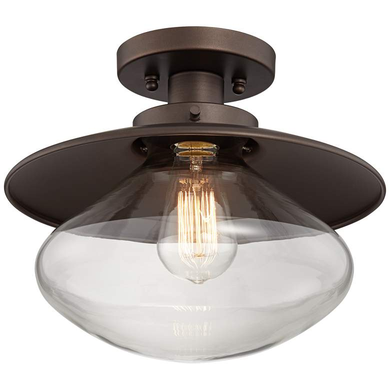 Harlow Modern Farmhouse Glass and Bronze Ceiling Light