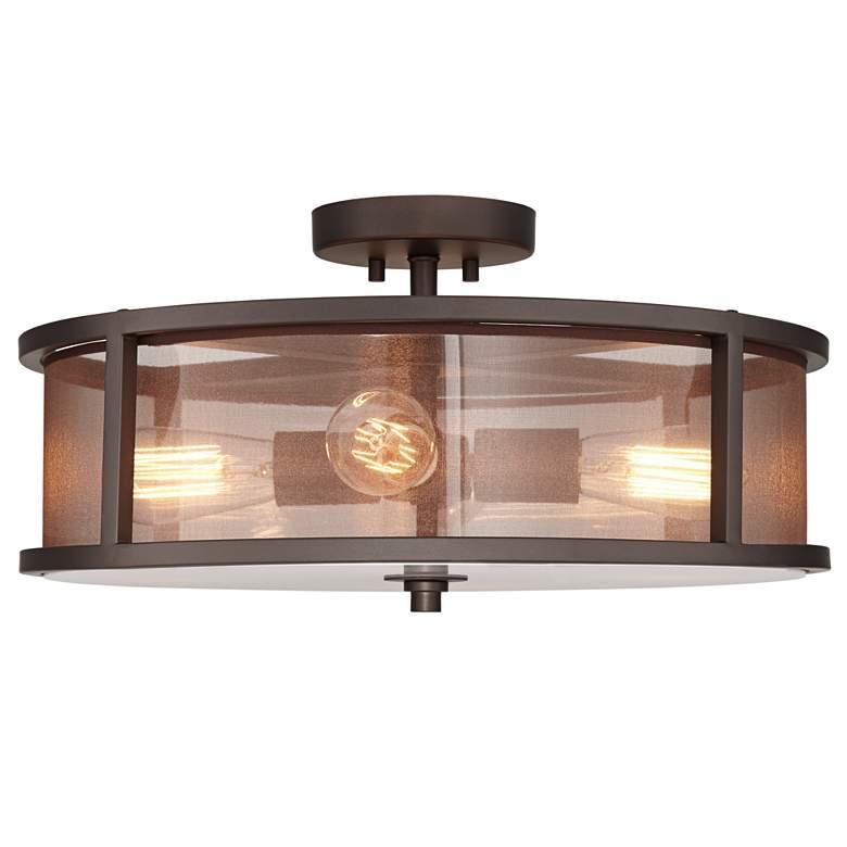 Possini Euro Nadia Bronze and Organza 4-Light Ceiling Light
