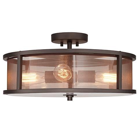 Possini Euro Nadia Bronze and Organza 3-Light Ceiling Light