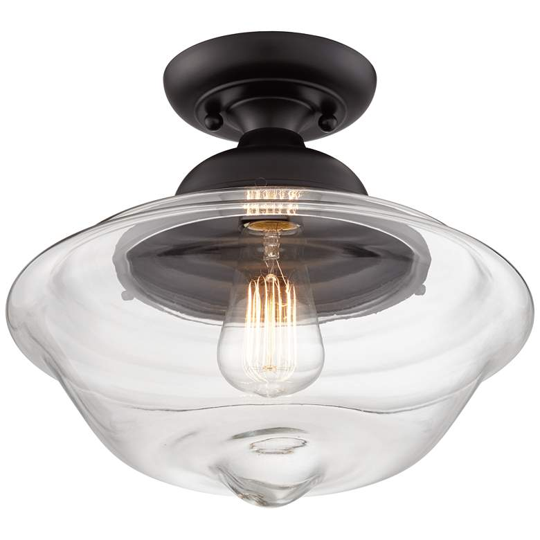 "Schoolhouse 13"" Wide Black Clear Glass Ceiling Light"