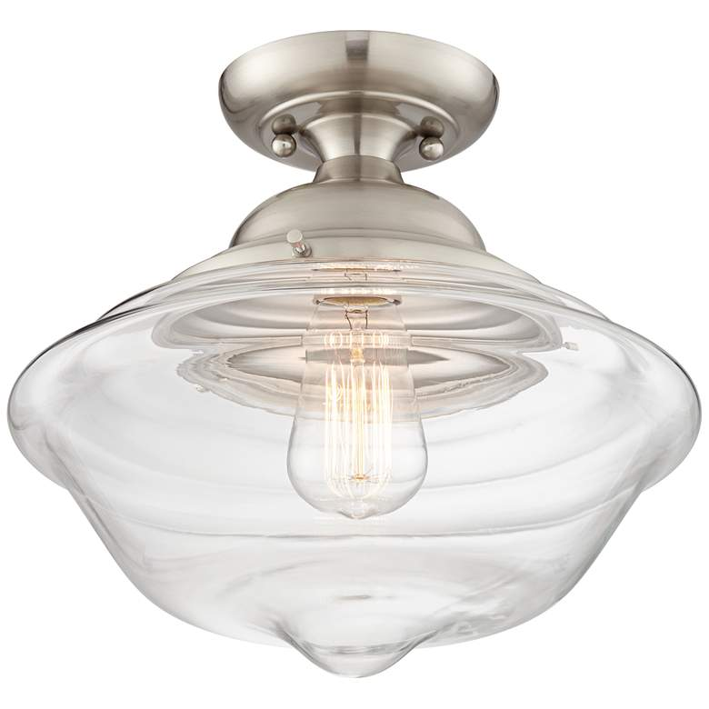 """Schoolhouse 13"""" Wide Brushed Nickel and Glass Ceiling Light"""
