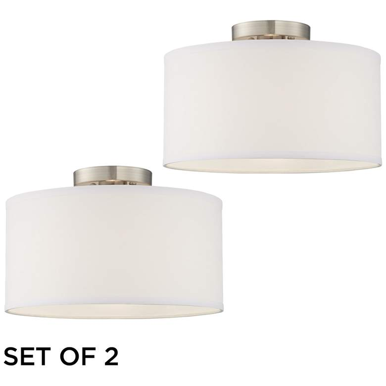 Adams White Fabric Drum Shade Ceiling Lights Set of 2