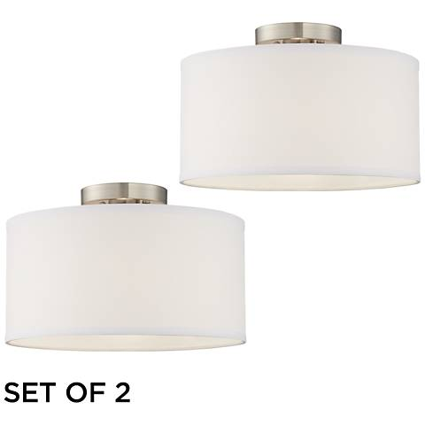 Adams White Fabric Drum Shade Ceiling Lights Set of 2